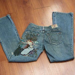 True Religion Embroidered Grunge Jeans